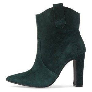 Green Almond Toe Chunky Heel Boots Vintage Ankle Booties