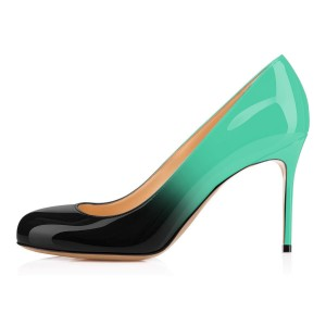 Green and Black Gradient Stiletto Heels Round Toe Pumps