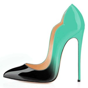 Green and Black Office Heels Pointed Toe Pumps Gradient Color Shoes