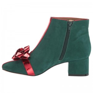 Green and Red Ribbon Suede Boots Block Heel Almond Toe Ankle Boots