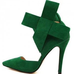 Women's Green Ankle Strap Sandals Pointy Toe D'orsay Pump with Bow