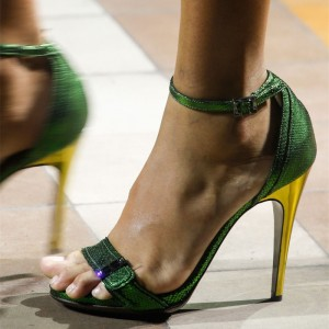 Green Ankle Strap Heels Open Toe Stiletto Heel Sandals