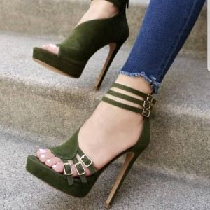 Green Buckles Ankle Strap Platform Sandals High Heel Shoes