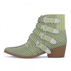 Green Buckles Studs Fashion Boots Block Heel Ankle Boots