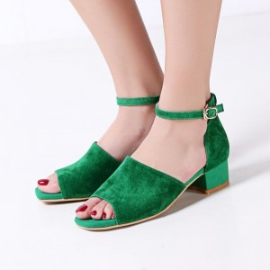 Green Chunky Heel Sandals Open Toe Block Heels Ankle Strap Sandals