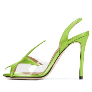 Green Clear PVC Slingback Heels Sandals