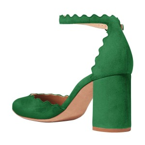 Green Closed Toe Sandals Suede Wave Style Ankle Strap Chunky Heels