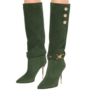 Green Fall Boots Suede Calf Length Stiletto Heel Fashion Boots