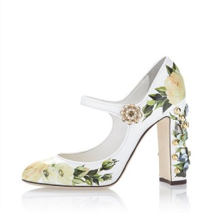 Green Floral Rhinestone Round Toe Chunky Heels Mary Jane Pumps