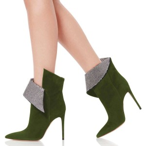 Green Fold Over Rhinestones Pointy Toe Stiletto Heel Ankle Booties
