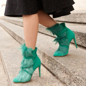 Green Fashion 3 inch Fur Boots Pointy Toe Ankle  Boots