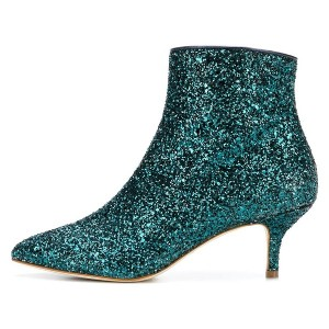 Green Glitter Kitten Heel Ankle Booties