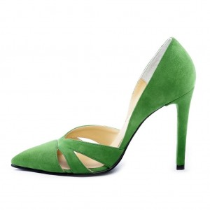 Green Hollow-out Suede Stiletto Heels Pointed Toe Low Cut Pumps