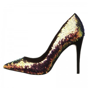 Green Hologram Sequined Stiletto Heels Pumps
