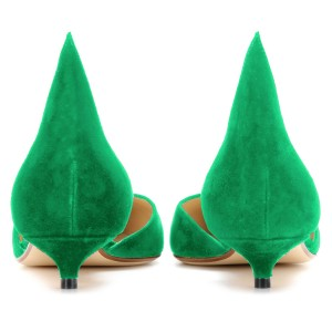Green Kitten Heels Pointy Toe Pumps Suede Shoes