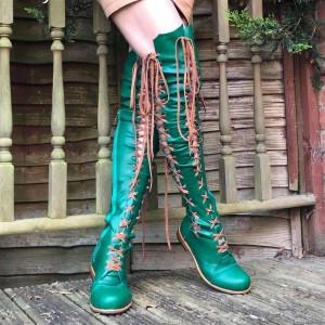 Green Lace Up Boots Strappy Flat Knee High Boots