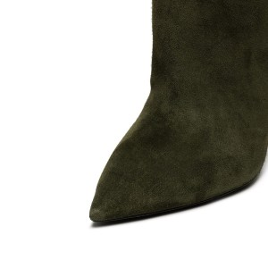 Green long Boots Pointy Toe Cone Heel Over-the-Knee Boots