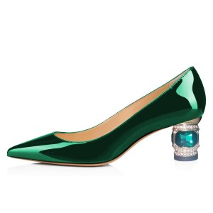 Green Mirror Leather Crystal Chunky Heels Pumps