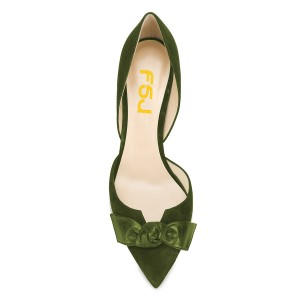 Olive Green Office Heels Pointy Toe Stiletto Heel Pumps with Bow