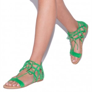 Green Open Toe Summer Sandals Lace up Sandals Hollow out Flats