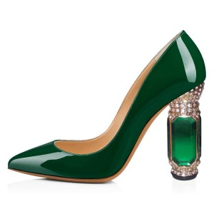 Green Patent Leather Office Heels Rhinestone Chunky Heel Pumps