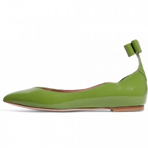 Green Patent Leather Pointy Toe Bow Comfortable Flats