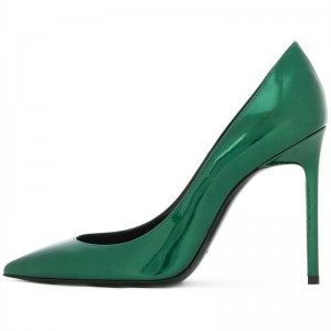 Green Patent Leather Pointy Toe Stiletto Heels Pumps Office Shoes