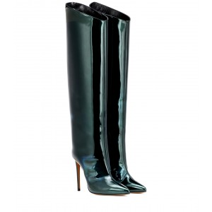 Green Patent Leather Stiletto Boots Knee High Boots