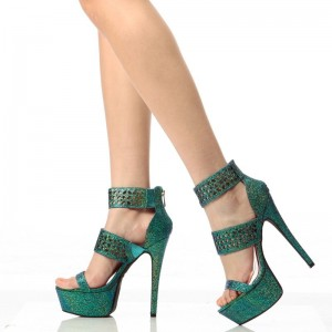 Green Platform Sandals Hollow out Open Toe High Heel Shoes
