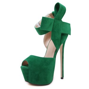 Green Bow Peep Toe Platform Sandals Ankle Strap High Heels Shoes