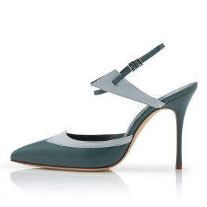 Green Pointy Toe Slingback Heels Pumps