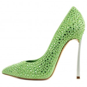 Green Pointy Toe Stiletto Heels Rhinestone High heels Shoes