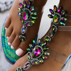 Green Python Jeweled Thong Sandals Flat Clear Summer Beach Sandals