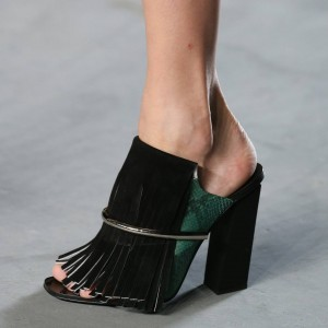 Green Python Peep Toe Chunky Heels Mule with Black Fringe