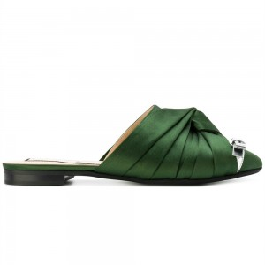 Green Satin Bow Mule Pointy Toe Flats