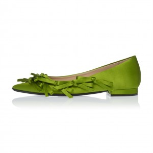 Green Satin Bow Pointy Toe Comfortable Flats
