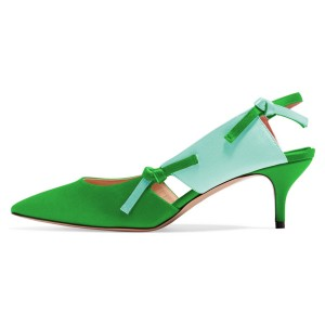 Green Satin Kitten Heel Slingback Pumps