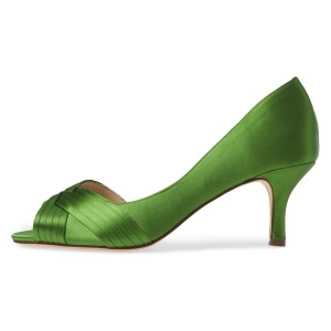 Green Satin Peep Toe Kitten Heels D'orsay Pumps
