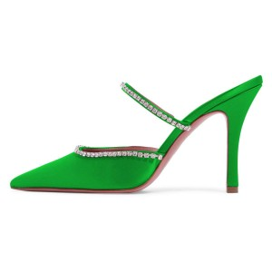 Green Satin Pointy Toe Rhinestone Mule Heels