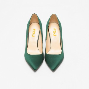 Women's Green Stiletto Heels Pointy Toe Classy Satin 4 Inch Heel Pumps