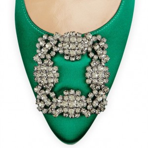 Women's Green Rhinestone Pointed Toe Stiletto Heels Pumps