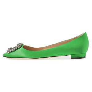 Green Satin Rhinestone Comfortable Flats
