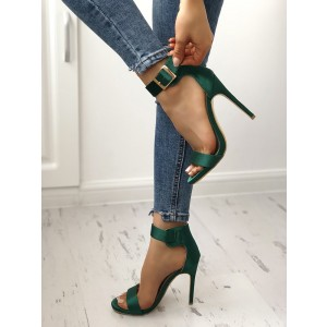 Green Satin Open Toe Stiletto Heels Buckle Ankle Strap Sandals