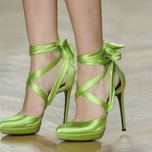 Green Satin Stiletto Heels Platform Heels Strappy Pumps