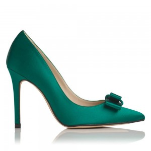 Green Stain Bow Heels Pointy Toe Stiletto Heel Pumps