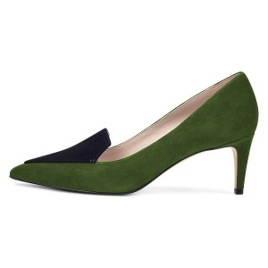 Green Suede Office Heels Pointy Toe Pumps