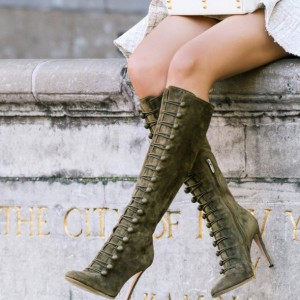 Green Suede Agraffe Stiletto Boots Knee High Boots