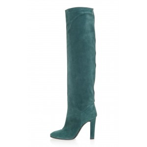 Green Suede Almond Toe Chunky Heel Boots Over the Knee Boots
