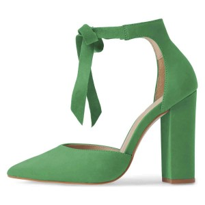 Green Suede Ankle Strap Heels Bow Pointy Toe Chunky Heel Pumps