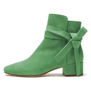 Green Suede Boots Bow Chunky Heel Ankle Boots